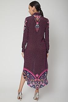 Dark Grey Digital Printed Shirt Dress by SIDDHARTHA BANSAL