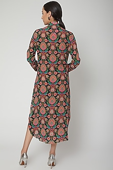 Green Printed & Embroidered Shirt Dress by SIDDHARTHA BANSAL