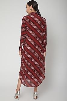 Maroon Striped Printed Shirt Dress by SIDDHARTHA BANSAL