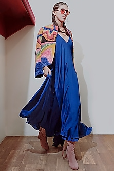 Multi Colored Embroidered Jacket by SIDDHARTHA BANSAL