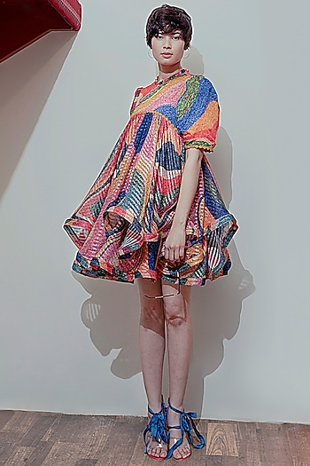 Multi Colored Embroidered Dress by SIDDHARTHA BANSAL