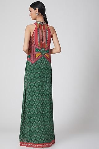 Emerald Green & Red Printed Maxi Dress by SIDDHARTHA BANSAL