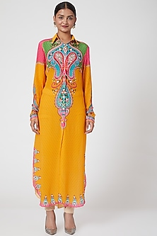 Yellow Embroidered Tunic by SIDDHARTHA BANSAL-POPULAR PRODUCTS AT STORE