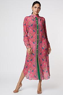 Pink & Blue Paisley Printed Shirt Dress by SIDDHARTHA BANSAL-POPULAR PRODUCTS AT STORE