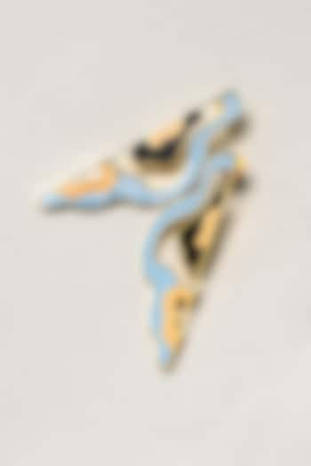 Gold Finish Enameled Folded Waves Earrings by SIDDHANT AGRAWAL