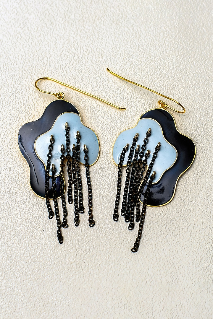 Gold Finish Enameled Chain Earrings by SIDDHANT AGRAWAL
