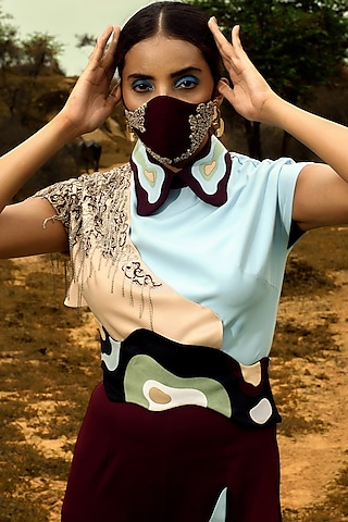 Maroon Poly Crepe Embroidered Mask by SIDDHANT AGRAWAL
