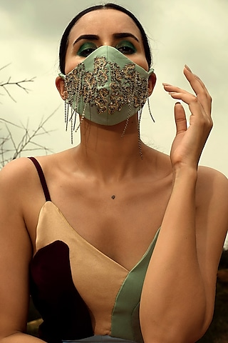 Sage Green Embroidered Mask With Metal Chain by SIDDHANT AGRAWAL