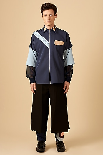 Navy Blue Urban Palette Shirt by Siddhant Agrawal Men