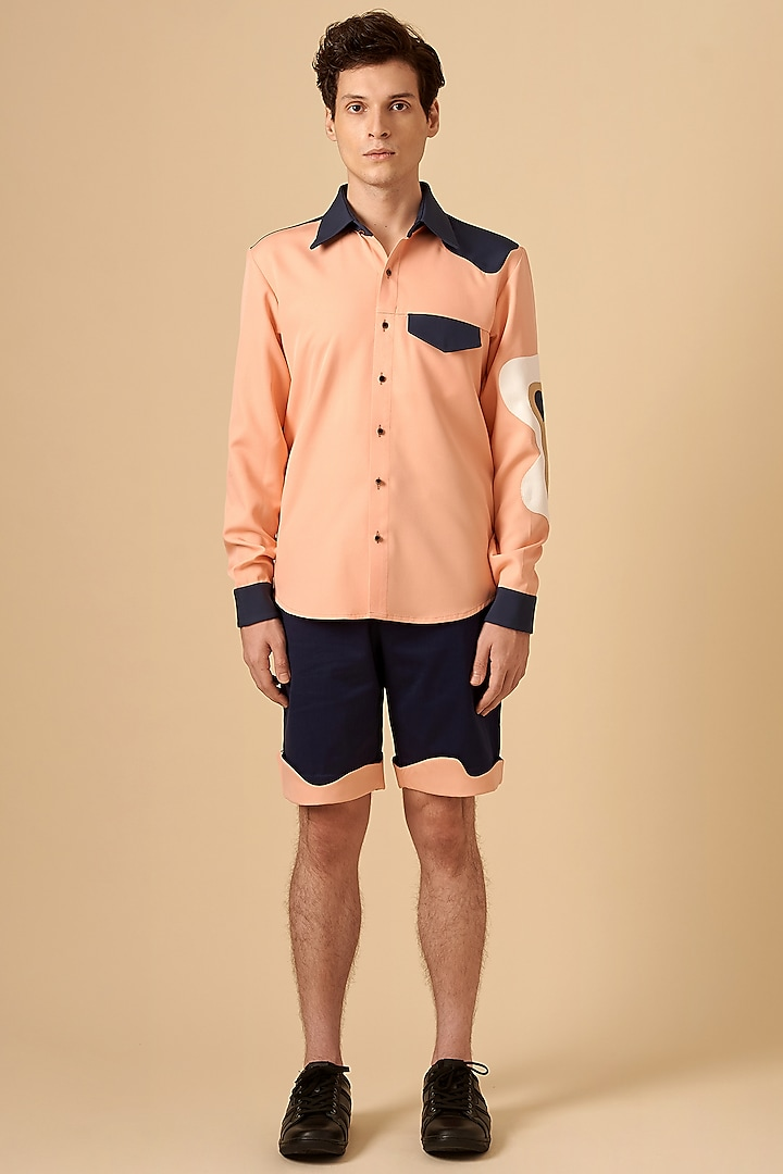 Baby Pink Color Blocked Shirt by Siddhant Agrawal Men