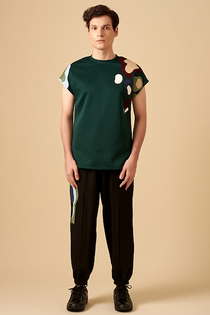 Bottle Green Color Blocked Sleeveless T-Shirt by Siddhant Agrawal Men