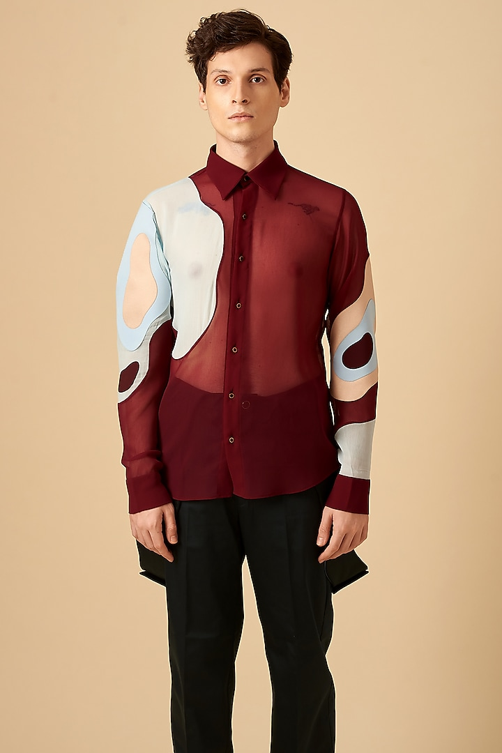Maroon Poly Georgette Shirt by Siddhant Agrawal Men
