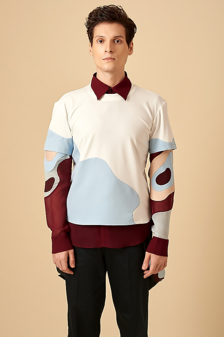 White Colored Blocked T-Shirt by Siddhant Agrawal Men