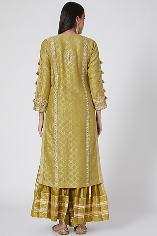 Green & Yellow Embroidered Sharara Set by Simar Dugal