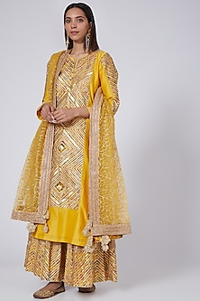 Yellow Chanderi Sharara Set by Simar Dugal-POPULAR PRODUCTS AT STORE