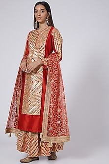 Red Chanderi Sharara Set by Simar Dugal-POPULAR PRODUCTS AT STORE