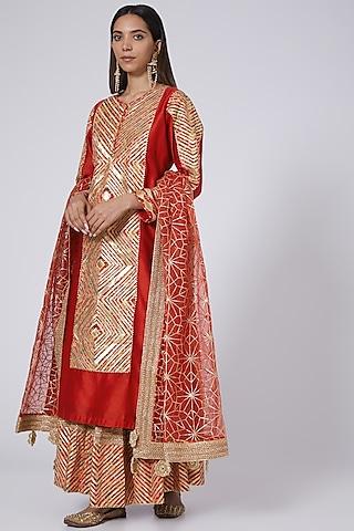 Red Chanderi Sharara Set by Simar Dugal