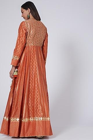 Orange Chanderi Angrakha Kurta Set by Simar Dugal