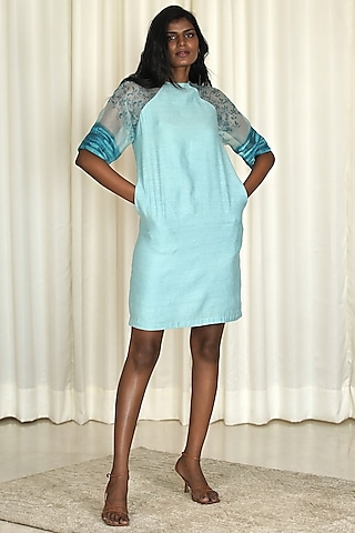 Powder Blue Block Printed Chanderi Dress by Shiori