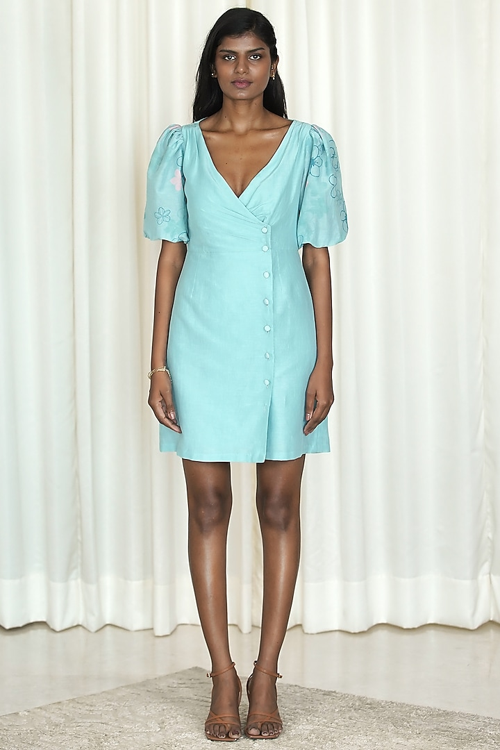 Powder Blue Printed Overlapped Dress by Shiori