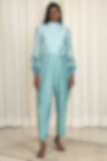 Powder Blue Printed Pant Set by Shiori