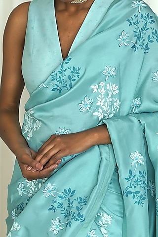 Powder Blue Printed Saree Set by Shiori