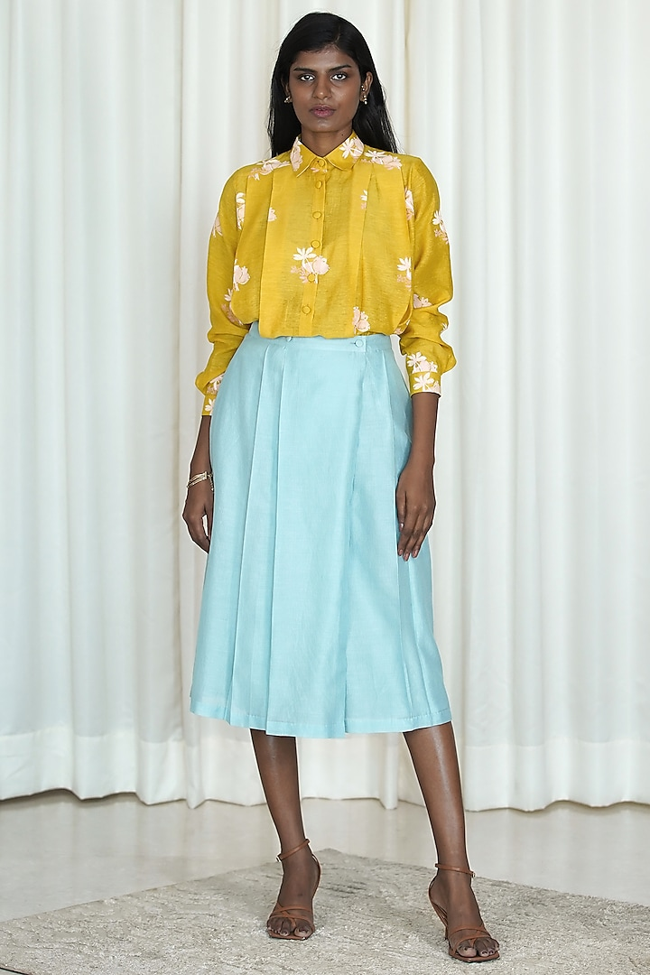 Blue & Yellow Pleated Skirt Set by Shiori