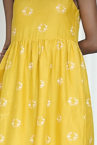 Yellow Printed Dress With Side Slits by Shiori