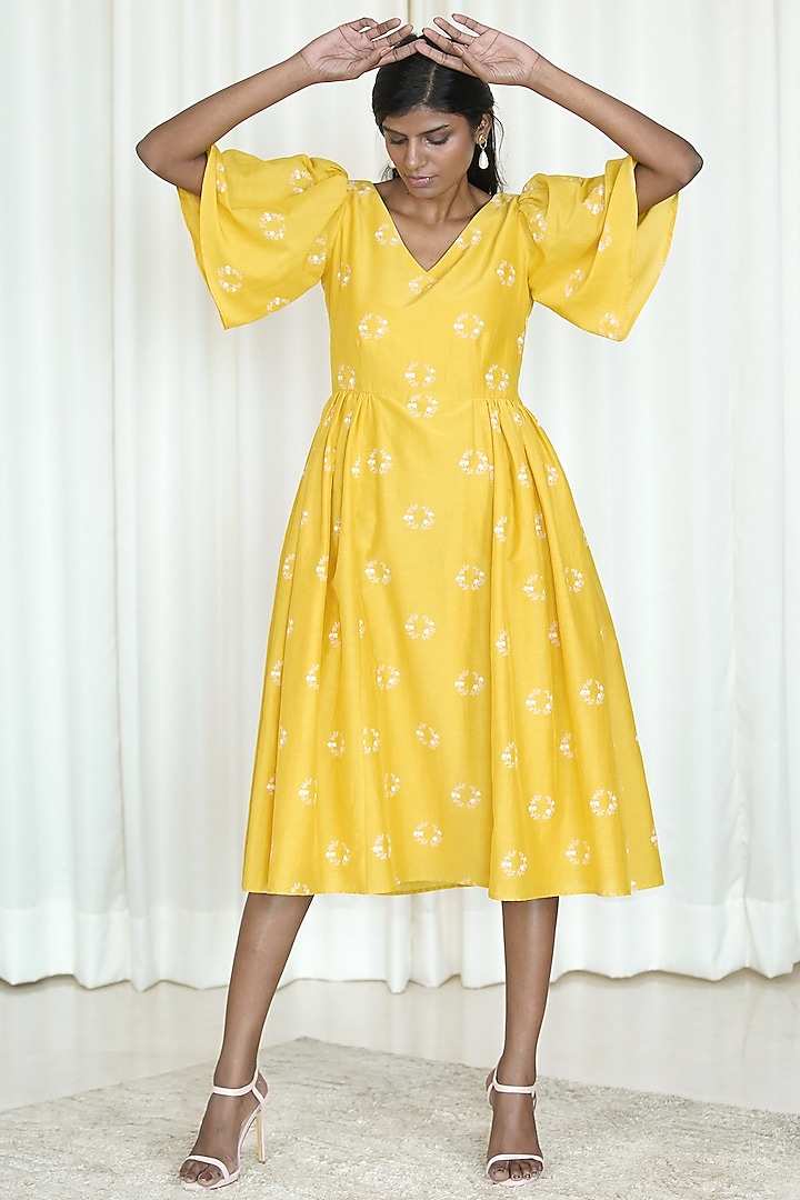 Yellow Printed Dress With Flounce Sleeves by Shiori