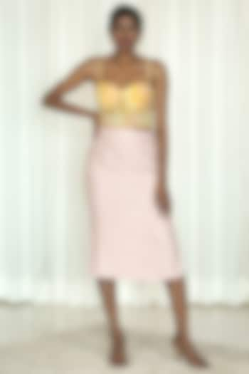 Pink Printed Skirt Set by Shiori