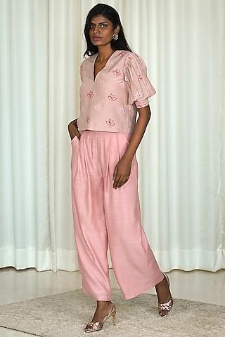 Pink Printed Pant Set by Shiori