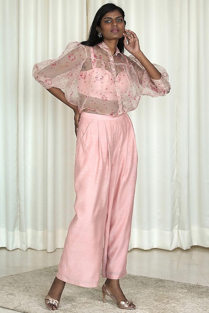 Pink Printed Organza Shirt by Shiori