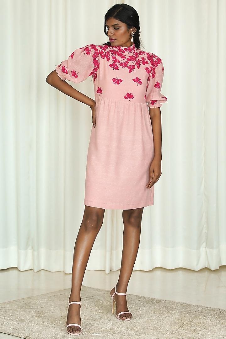 Pink Printed Mini Dress by Shiori