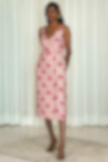 Pink Printed Overlapped Dress by Shiori