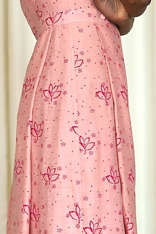 Pink Printed Overlapped Maxi Dress by Shiori