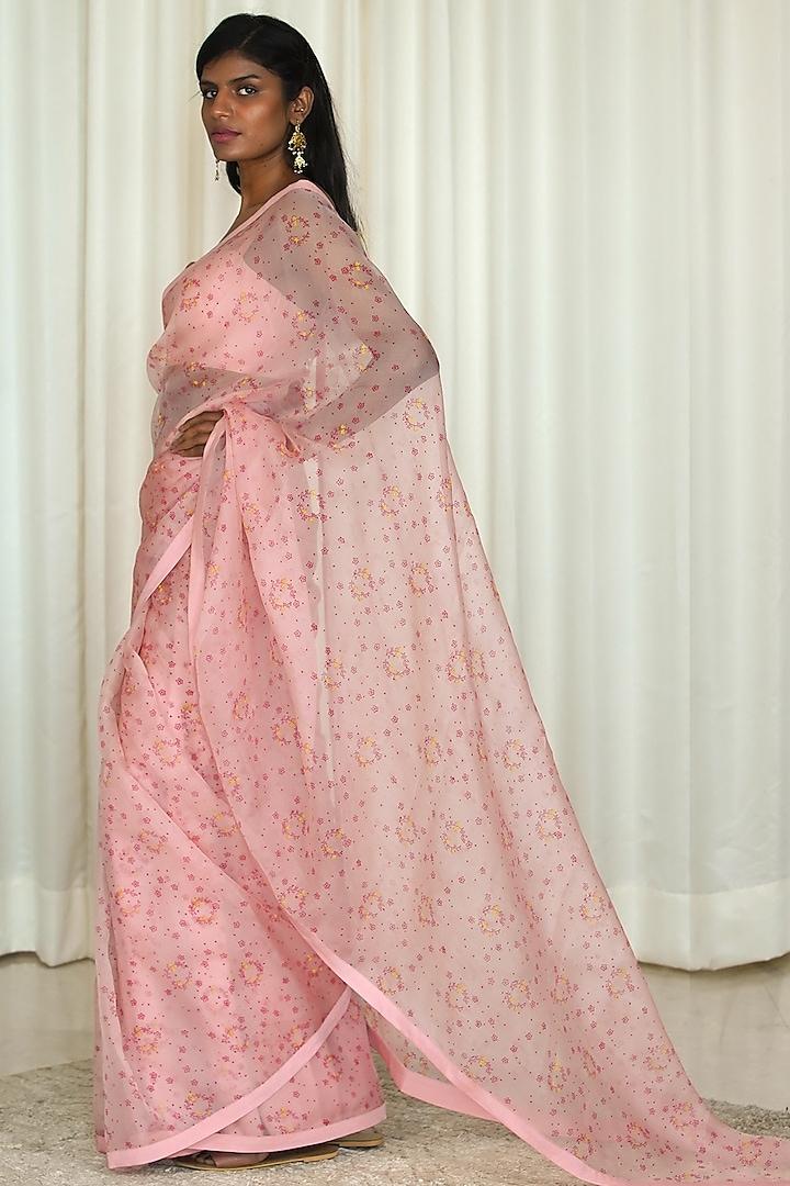 Pink Printed Organza Saree Set by Shiori