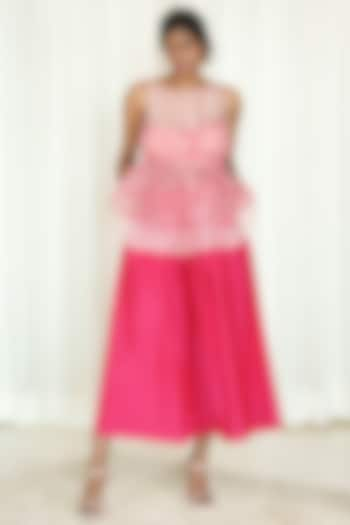Pink Pleated Culotte Pant Set by Shiori