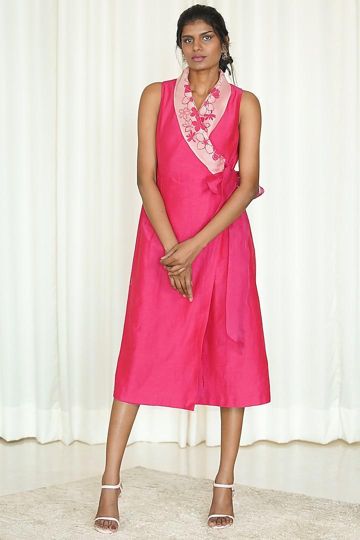 Fuchsia Printed Wrap Dress by Shiori