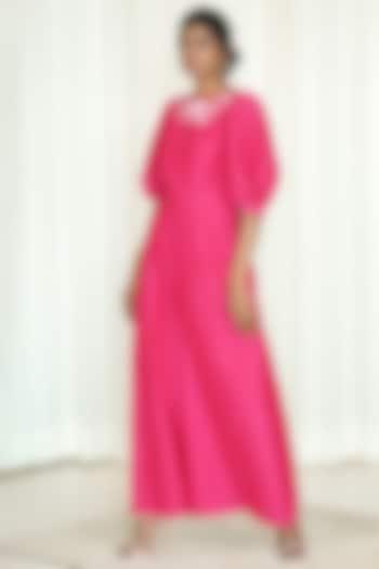 Fuchsia Printed Jumpsuit by Shiori