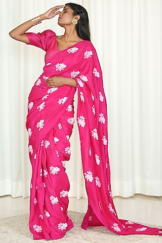 Fuchsia Printed Saree Set by Shiori