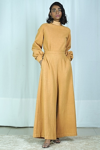 Yellow Embroidered Flared Jumpsuit by Shiori