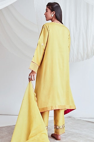 Yellow Embroidered Kaftan Set by Sitaraa
