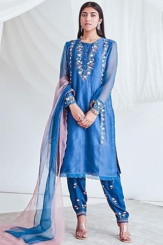 Smokey Blue Embroidered Kurta Set by Sitaraa