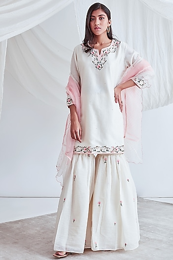 Ivory Embroidered Gharara Set by Sitaraa