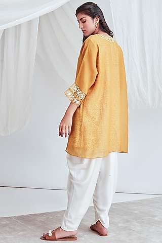 Mustard Embroidered Tunic With Slip by Sitaraa