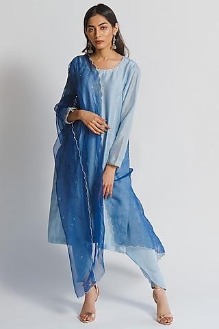 Powder Blue Silk Chanderi Kurta Set by Sitaraa
