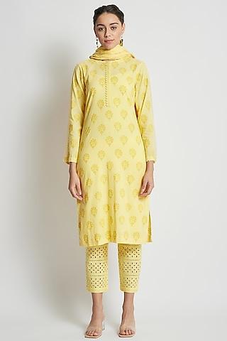 Yellow Hand Block Printed Kurta Set by Sitaraa