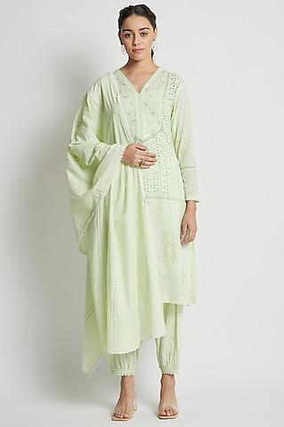Sage Green Hand Block Printed & Embroidered Kurta Set by Sitaraa