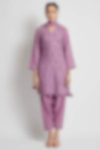 Purple Hand Block Printed Kurta Set by Sitaraa