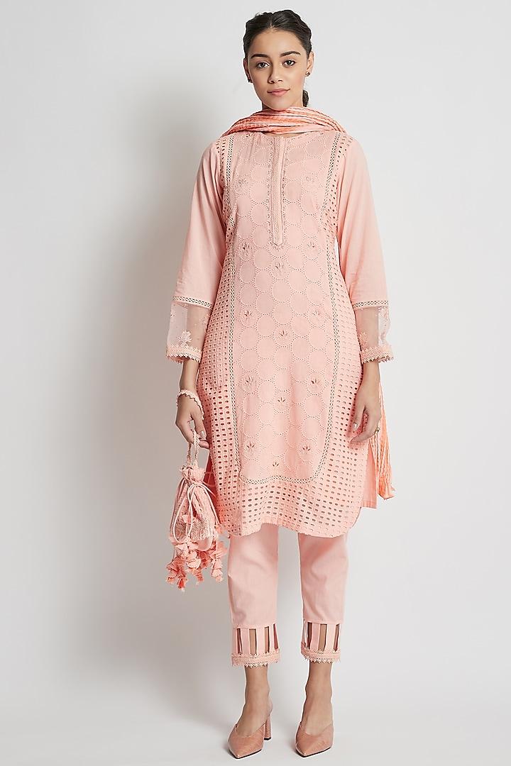 Peach Tonal Embroidered Kurta Set by Sitaraa